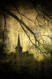 Imagem do vintage do castelo de Dracula, a Transilvânia, Romênia Foto de Stock