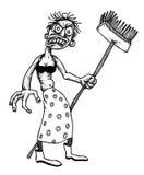 Imagem dos desenhos animados da limpeza da senhora do monstro do vivo Fotografia de Stock