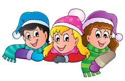Imagem dos desenhos animados da pessoa do inverno   Imagens de Stock