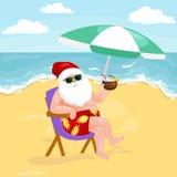 Imagem dos desenhos animados de Papai Noel no roupa de banho que senta-se na praia ilustração stock
