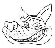 Imagem dos desenhos animados de sorrir a cara do lobo Foto de Stock Royalty Free