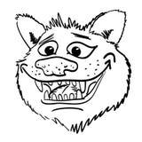 Imagem dos desenhos animados de sorrir a cara do lobo Fotografia de Stock