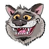 Imagem dos desenhos animados de sorrir a cara do lobo Foto de Stock