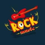 Imagem dos desenhos animados de uma guitarra elétrica e da inscrição ' Rocha music' fotos de stock royalty free