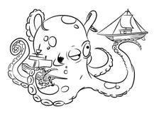 Imagem dos desenhos animados do polvo ilustração stock