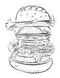 Imagem dos desenhos animados do sanduíche enorme ilustração do vetor