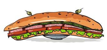 Imagem dos desenhos animados do sanduíche enorme ilustração royalty free