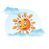 Imagem dos desenhos animados do sol nas nuvens Imagem de Stock