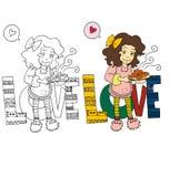 A imagem dos desenhos animados dos pares para o dia de Valentim ilustração do vetor