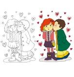 A imagem dos desenhos animados dos pares para o dia de Valentim ilustração royalty free