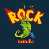 Imagem dos desenhos animados no estilo da rocha com camaleão e a guitarra eletrônica foto de stock royalty free
