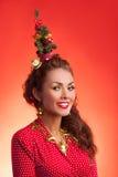 Imagem engraçada dos feriados do ano novo e do Natal com modelo Imagem de Stock Royalty Free