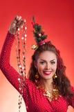 Imagem engraçada dos feriados do ano novo e do Natal com modelo Fotos de Stock