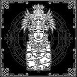 Imagem estilizado de uma deidade indiana antiga Motriz do indiano do nativo americano da arte ilustração stock