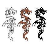 Imagem estilizado do dragão circuito cor Silhueta Imagem de Stock