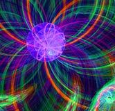 Imagem estrangeira fantástica roxa do sol do fractal abstrato Fotos de Stock