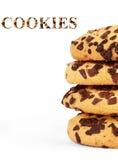 Imagem extrema do close-up de cookies dos pedaços de chocolate imagem de stock