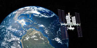A imagem extremamente detalhada e realística da alta resolução 3D da terra de órbita da estação espacial internacional do ISS dis Fotografia de Stock Royalty Free