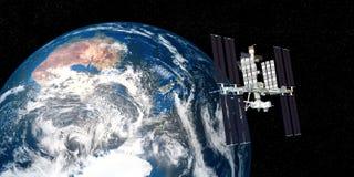 A imagem extremamente detalhada e realística da alta resolução 3D da terra de órbita da estação espacial internacional do ISS dis Fotos de Stock Royalty Free