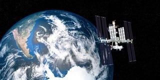 A imagem extremamente detalhada e realística da alta resolução 3D da terra de órbita da estação espacial internacional do ISS dis Fotos de Stock