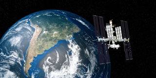A imagem extremamente detalhada e realística da alta resolução 3D da terra de órbita da estação espacial internacional do ISS dis Imagens de Stock Royalty Free