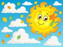 Imagem feliz 2 do tema do sol do outono Imagens de Stock Royalty Free