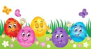 Imagem feliz 3 do tema dos ovos da páscoa Imagem de Stock Royalty Free