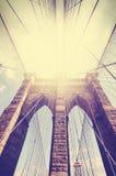 Imagem filtrada vintage da ponte de Brooklyn imagem de stock royalty free