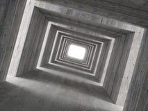 Imagem fina 3d do túnel concreto e da luz lateral imagem de stock royalty free