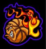 Imagem flamejante do vetor da face da esfera do basquetebol Fotografia de Stock Royalty Free