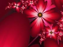 Imagem floral da fantasia, backgroung para introduzir o texto Fundo da flor para introduzir o texto Imagem vermelha do fractal Imagem de Stock