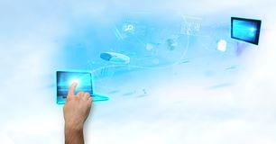 Imagem gerada Digital de tela tocante do portátil da mão com vários ícones no fundo Fotos de Stock