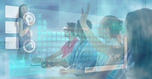 Imagem gerada Digital de vários ícones com as estudantes universitário durante a leitura na sala de aula Fotografia de Stock