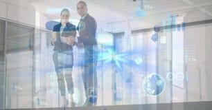 Imagem gerada Digital de vários ícones com os executivos no fundo Fotos de Stock Royalty Free