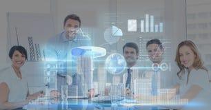 Imagem gerada Digital de vários ícones contra executivos na sala de conferências Fotos de Stock Royalty Free