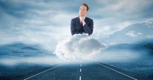Imagem gerada Digital do homem de negócios pensativo na nuvem sobre a estrada no céu Foto de Stock