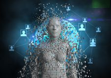 Imagem gerada Digital do ser humano 3d com ícones dos trabalhos em rede Fotografia de Stock Royalty Free