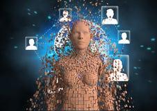 Imagem gerada Digital do ser humano 3d com símbolos dos trabalhos em rede Fotografia de Stock Royalty Free