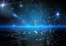 Imagem gerada Digital do ser humano 3d sobre o fundo de incandescência abstrato Foto de Stock