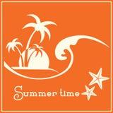 Imagem gráfica das horas de verão com onda do mar e as palmeiras tropicais Fotos de Stock