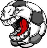 Imagem gritando dos desenhos animados da face da esfera de futebol ilustração stock