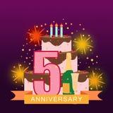 Imagem ilustrada com bolo, número cinco, fogos-de-artifício e rai da estrela Fotografia de Stock Royalty Free