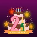 Imagem ilustrada com bolo, número dois, fogos-de-artifício e ra estrelado Imagens de Stock Royalty Free