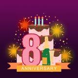 Imagem ilustrada com bolo, número oito, fogos-de-artifício e estrelado Imagem de Stock