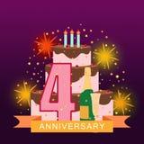 Imagem ilustrada com bolo, número quatro, fogos-de-artifício e rai da estrela Fotos de Stock