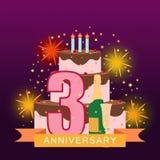 Imagem ilustrada com bolo, número três, fogos-de-artifício e ra da estrela Imagem de Stock