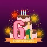 A imagem ilustrada com bolo, o número seis, os fogos-de-artifício e a estrela chovem Fotos de Stock