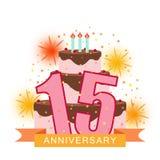 Imagem ilustrada com um bolo, número quinze, fogos-de-artifício e um s Fotografia de Stock Royalty Free
