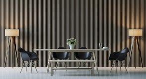 Imagem interior da rendição 3d da sala de jantar contemporânea moderna Ilustração do Vetor
