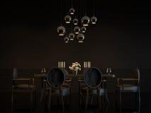 Imagem interior da rendição 3D da sala de jantar preta luxuosa moderna Ilustração Stock